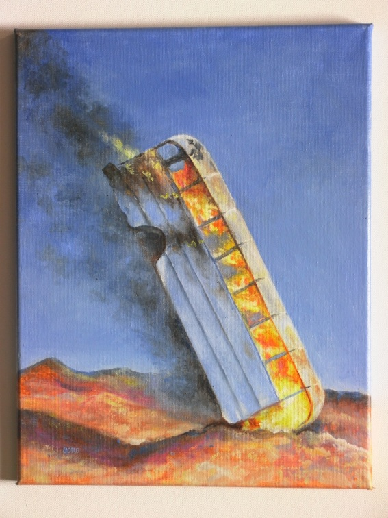 Bus Burn Painting, Oil, 12 x 16